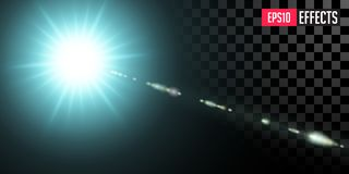 Blue Star. Vector Transparent Sci-Fi Special Lens Flare Light Effect. royalty free stock photo