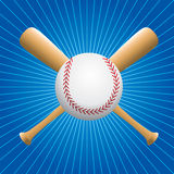 Blue starburst baseball with bats Stock Photography