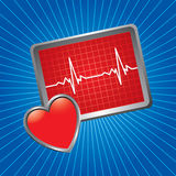 Blue starburst heart monitor Royalty Free Stock Image