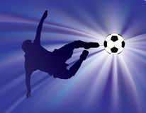 Blue starburst soccer kick Royalty Free Stock Image