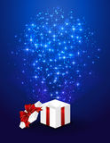 Blue starry background with gift box Royalty Free Stock Photo