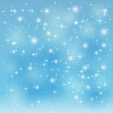 Blue starry background. Blue sparkle background with shining stars and blurry lights, illustration Stock Photo