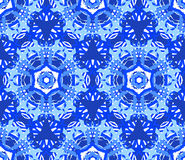 Blue Starry Flower Kaleidoscope Background. Kaleidoscope Pattern. Seamless blue background. Star mandala geometric graphic print. Psychedelic design element for Royalty Free Stock Photos