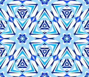 Blue Starry Flower Kaleidoscopic Pattern. Kaleidoscope Pattern. Seamless blue background. Mandala geometric graphic print. Psychedelic design element for Stock Image