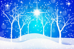 Blue Starry Night Christmas Background. With tree, stars and snow vector illustration