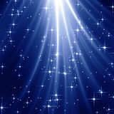 Blue starry sky. With light rays royalty free illustration