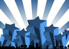 Blue starry skyline Stock Images
