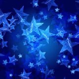 Blue stars. Over dark blue background with feather center stock illustration