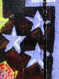 Blue stars. Painted blue stars on a dark wall (graffiti Stock Photos