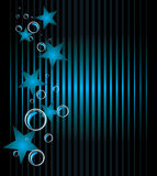 Blue Stars And Bubbles. Abstract Background Stock Photography