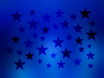 Blue Stars Blur wallpaper background. An illustration of gradient size and color stars on a blue blurred background for use in website wallpaper design royalty free illustration