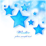 Blue stars Christmas tree ornamental border. Blue stars, Christmas tree ornaments and holiday decorations, winter border with bokeh lights and white text space Royalty Free Stock Photo