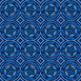 Blue stars in circles pattern Stock Photography
