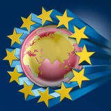Blue stars of Europe and asia Stock Photo