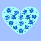 Blue stars heart romantic background. Winter cold flowers Stock Photo