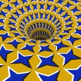 Blue stars hole. Optical motion illusion illustration.  Royalty Free Stock Image