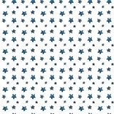 Cute big and small blue stars, salute of stars. pattern. Watercolor royalty free illustration