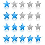Blue stars. Rating levels. Vector 3d illustration on white background vector illustration