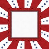 Blue stars with red and white burst lines border with copy space royalty free stock image