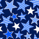 Blue stars and stripes seamless pattern.  Royalty Free Stock Image