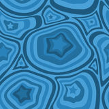 Blue stars and waves pattern Royalty Free Stock Image