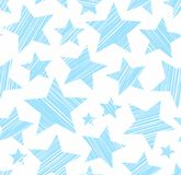Blue stars, white background, seamless, vector. Royalty Free Stock Photos