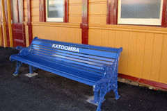 Blue station bench Royalty Free Stock Images