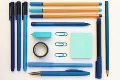 Blue Stationery Flat Lay royalty free stock photography