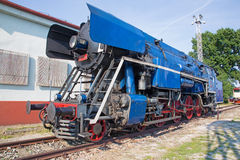 Blue steam locomotive Stock Photos