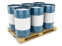 Blue steel barrels on pallet. Barrels steel blue pallet tray isolated oil tanks water metal Stock Photos