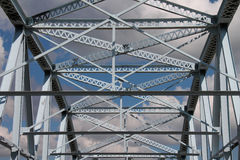 Blue Steel Bridge Center View Stock Photo