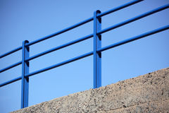 Blue steel railing Royalty Free Stock Images
