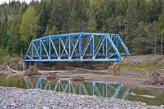 Blue steel railroad bridge Stock Photography