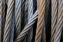 Blue Steel Rope In The Harbor Stock Image