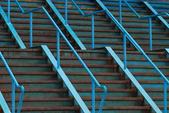 Blue Steel Stairs. A side-on shot of rusted blue steel stairs. A good industrial-feel background Royalty Free Stock Photos