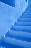 Blue steps outdoors. Set of whitewashed steps outside building with blue color tone, Cyclades Islands, Greece stock photos