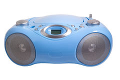 Blue stereo CD mp3 radio recorder isolated on Royalty Free Stock Photo