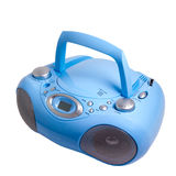 Blue stereo radio boom box recorder CD mp3. Blue stereo radio boom box recorder CD solated stock images