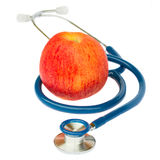 Blue stethoscope with apple Stock Photo
