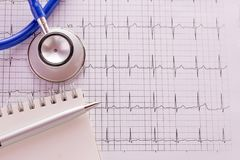 Blue stethoscope and cardiogram pulse trace concept. For cardiovascular medical exam. Medical and health concept Royalty Free Stock Photography