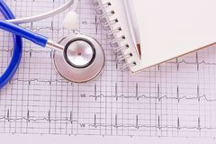 Blue stethoscope and cardiogram pulse trace concept. For cardiovascular medical exam. Medical and health concept Royalty Free Stock Photo