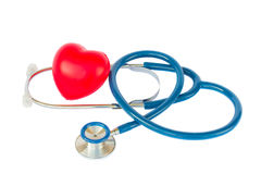 Blue stethoscope with heart Royalty Free Stock Photography