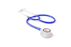 Blue stethoscope isolated on white Royalty Free Stock Photo