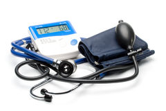 Blue stethoscope and pressure monitor Royalty Free Stock Photos