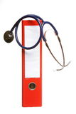 Blue stethoscope and red binder isolated on white. Healthcare, blue stethoscope and red file folder isolated on white royalty free stock photography
