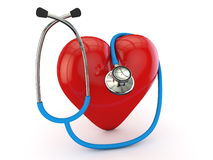 Blue stethoscope with red heart Stock Photography
