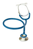 Blue stethoscope on white Royalty Free Stock Photography