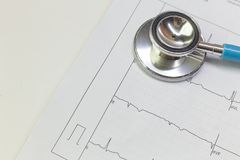 Blue stethoscopes and  Electrocardiography  chart close up image. A Blue stethoscopes and  Electrocardiography  chart close up image royalty free stock image