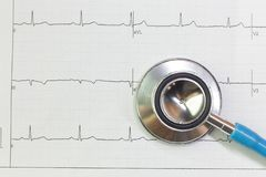 Blue stethoscopes and  Electrocardiography  chart close up image. A Blue stethoscopes and  Electrocardiography  chart close up image stock images