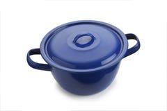 Blue stew pot. On white background Royalty Free Stock Photo